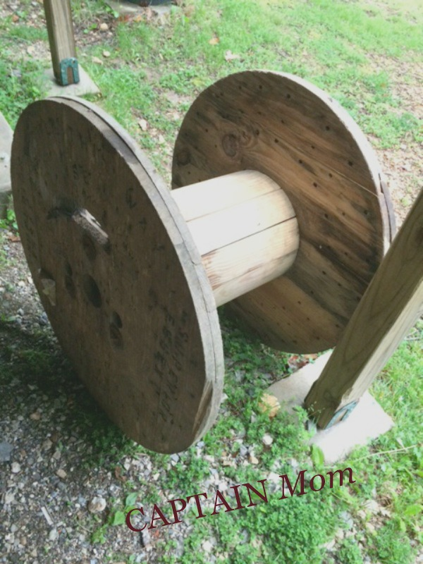 captain mom, rhonda franz, wood spool, repurposing , thrift, diy projects