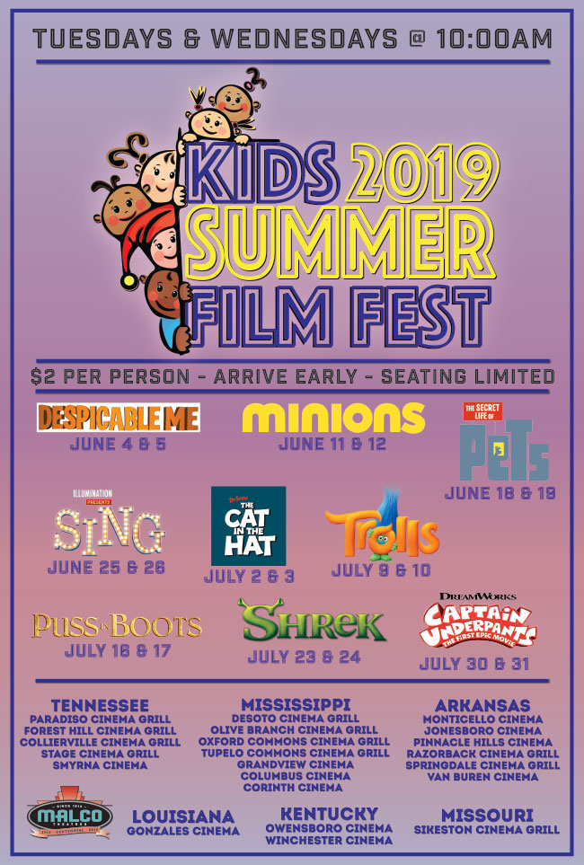 2019 Malco theaters Summer film fest