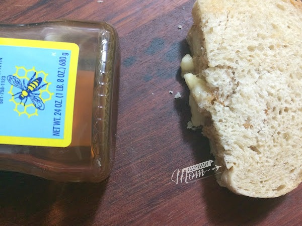 Peanut butter and honey sandwich with bananas by Captain Mom