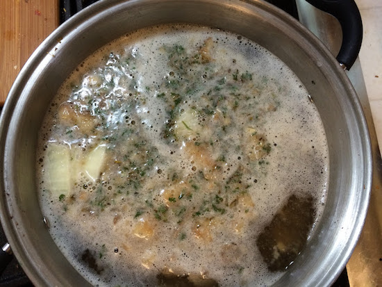 adding leftovers to soup
