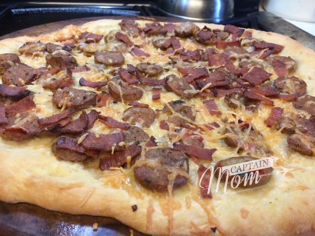 Simple Sausage and Bacon Breakfast Pizza