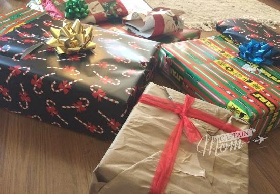 Christmas presents, wrapped Christmas gifts, Christmas greetings