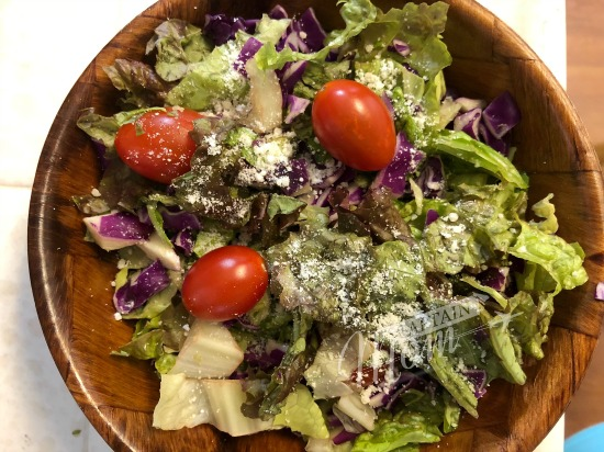tossed salad with Parmesan and grape tomatoes